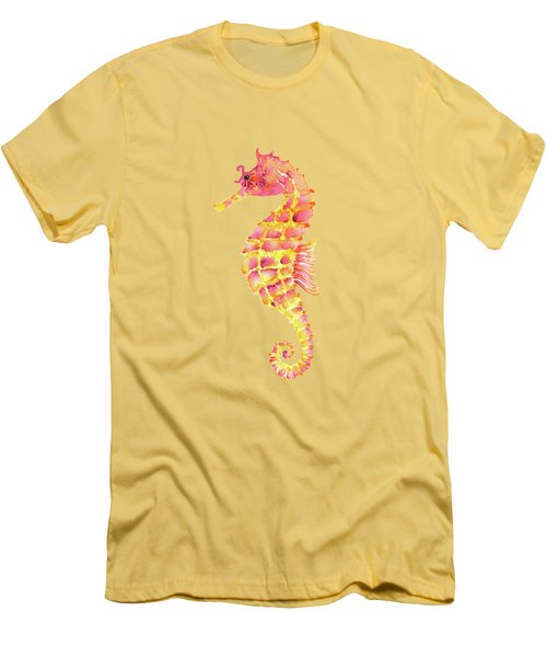Pink Yellow Seahorse Men's T-Shirt (Slim Fit) by Amy Kirkpatrick