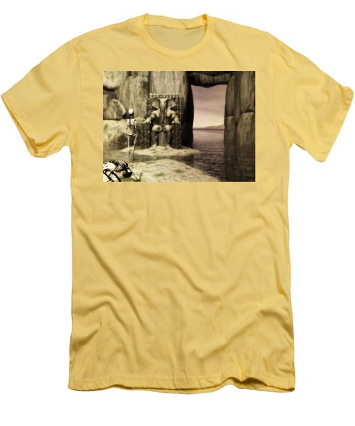 Men's T-Shirt (Slim Fit) featuring the digital art Plea Of The Penitent To The Lord Of Perdition by John Alexander