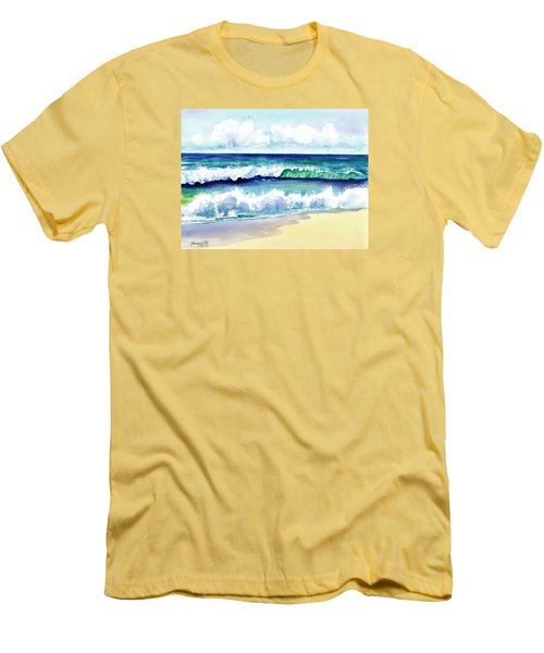 Men's T-Shirt (Slim Fit) featuring the painting Polhale Waves 3 by Marionette Taboniar