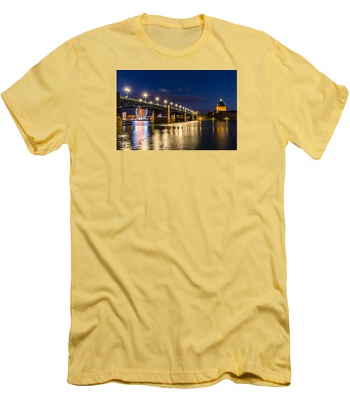 Men's T-Shirt (Slim Fit) featuring the photograph Pont Saint-pierre With Street Lanterns At Night by Semmick Photo