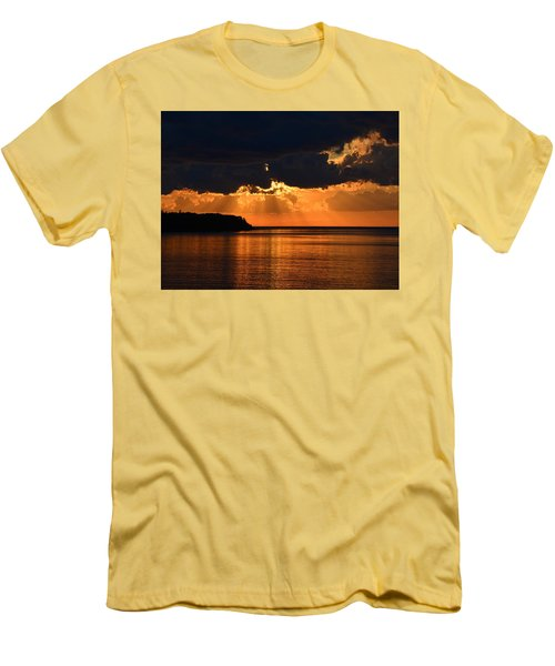 Porcupine Mountains Superior Sunset Men's T-Shirt (Slim Fit) by Keith Stokes