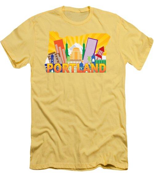 Portland Oregon Skyline In State Map Men's T-Shirt (Slim Fit) by Jit Lim