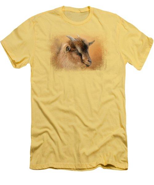 Portrait Of A Nubian Dwarf Goat Men's T-Shirt (Slim Fit) by Jai Johnson