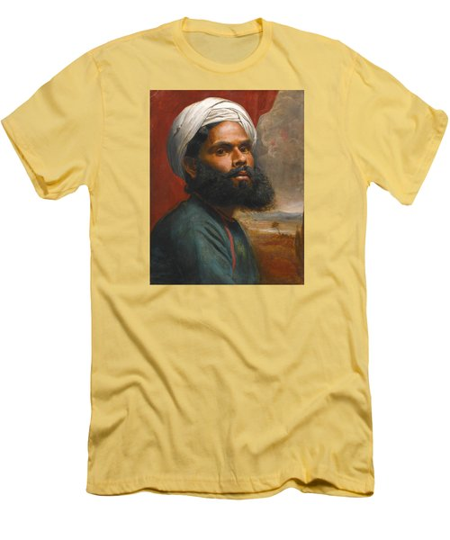 Men's T-Shirt (Slim Fit) featuring the painting Portrait Of An Indian Sardar by Edwin Frederick Holt