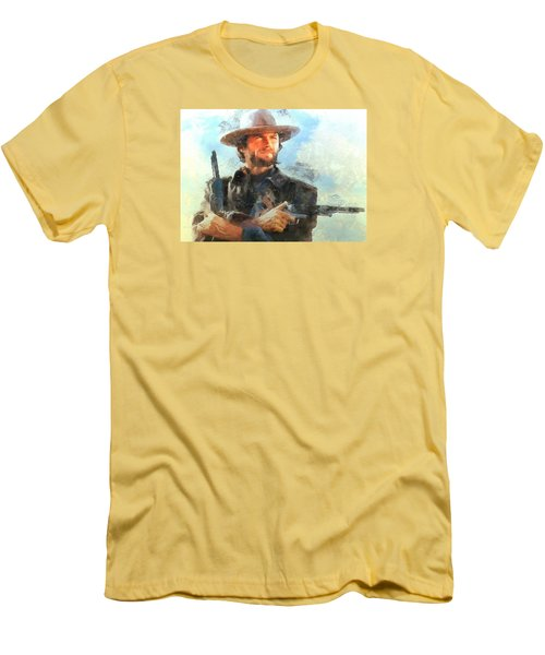 Men's T-Shirt (Slim Fit) featuring the digital art Portrait Of Clint Eastwood by Charmaine Zoe