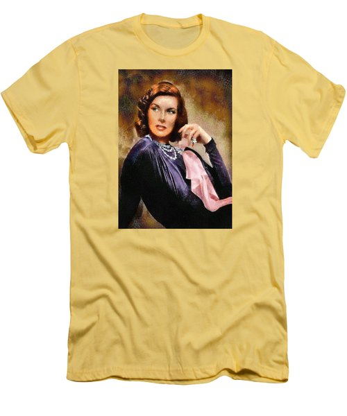 Men's T-Shirt (Slim Fit) featuring the digital art Portrait Of Katherine Hepburn by Charmaine Zoe