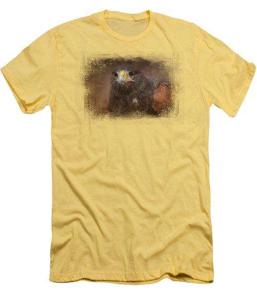 Portrait Of The Harris Hawk Men's T-Shirt (Slim Fit) by Jai Johnson