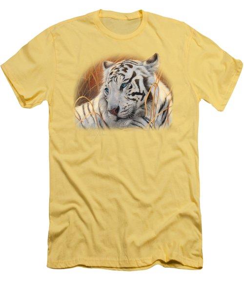Portrait White Tiger 1 Men's T-Shirt (Slim Fit) by Lucie Bilodeau