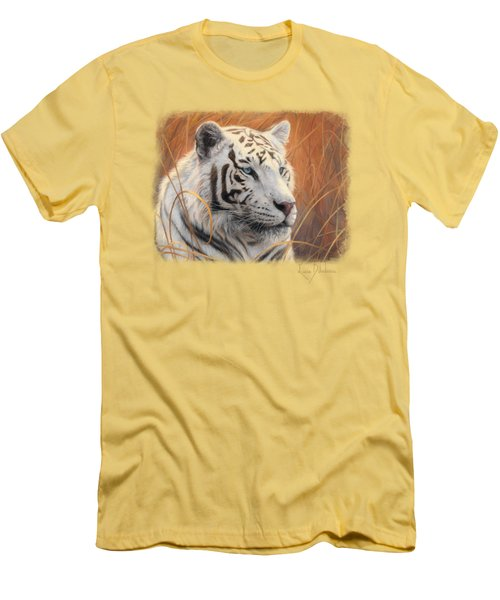 Portrait White Tiger 2 Men's T-Shirt (Slim Fit) by Lucie Bilodeau