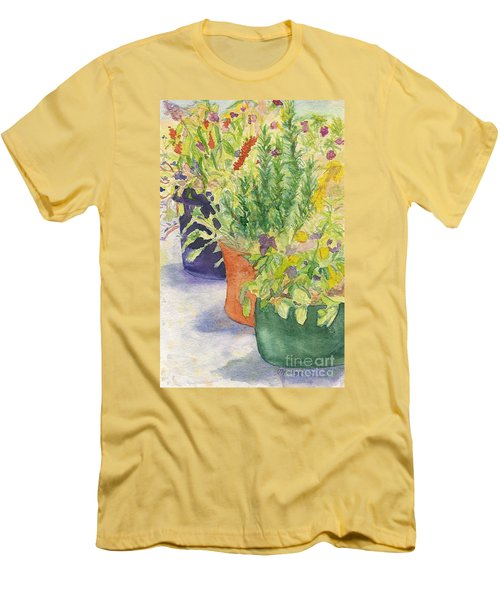 Men's T-Shirt (Slim Fit) featuring the painting Potted Beauties  by Vicki  Housel