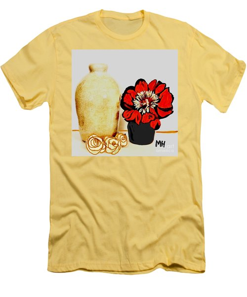Men's T-Shirt (Slim Fit) featuring the painting Pottery Peony Roses by Marsha Heiken