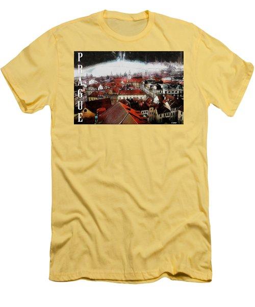 Prague Old Town Poster Men's T-Shirt (Slim Fit) by Kai Saarto