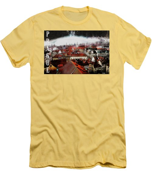 Prague Old Town Poster Men's T-Shirt (Athletic Fit)
