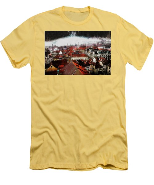 Men's T-Shirt (Slim Fit) featuring the painting Prague Skyline by Kai Saarto