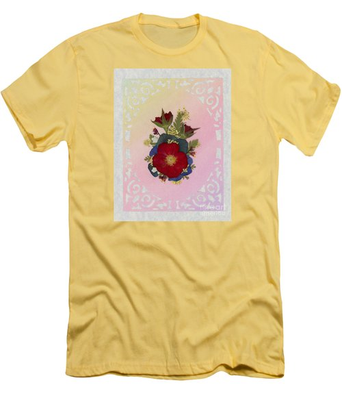 Pressed Flowers Arrangement With Red Roses Men's T-Shirt (Athletic Fit)