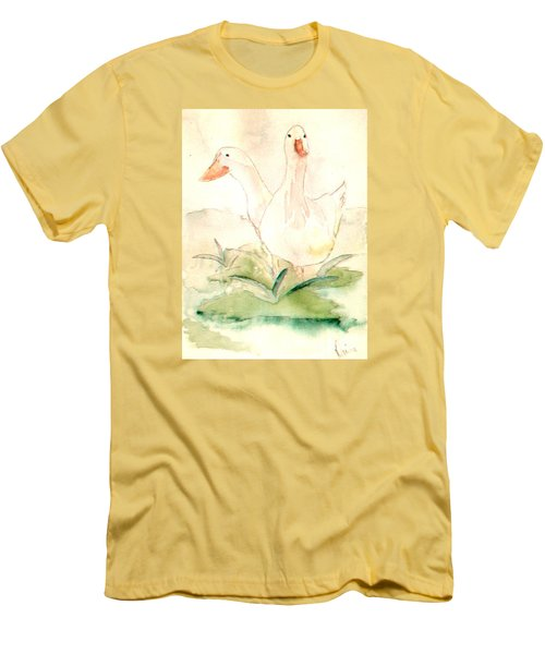 Men's T-Shirt (Slim Fit) featuring the painting Pretty Pekins by Denise Tomasura