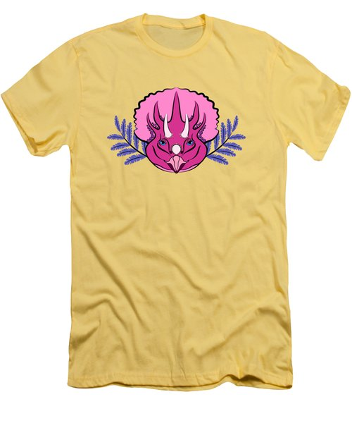Pretty Pink Triceratops Men's T-Shirt (Athletic Fit)