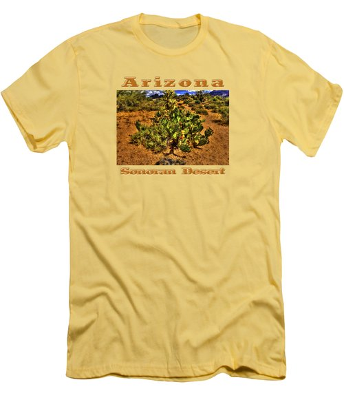 Prickly Pear In Bloom With Brittlebush And Cholla For Company Men's T-Shirt (Slim Fit) by Roger Passman