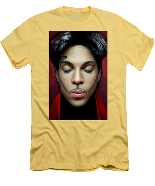 Men's T-Shirt (Slim Fit) featuring the painting Prince Artwork 2 by Sheraz A