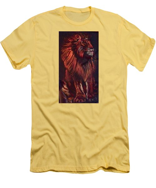 Men's T-Shirt (Slim Fit) featuring the pastel Proud King by Ellen Canfield