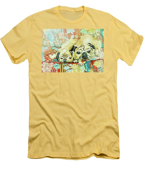 Pugs On A Chinese Print Sofa Men's T-Shirt (Slim Fit) by Joan Thewsey