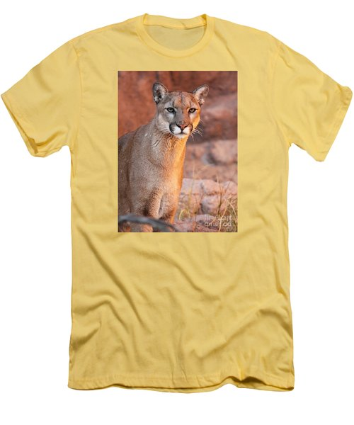 Men's T-Shirt (Slim Fit) featuring the photograph Puma At Sunset by Max Allen
