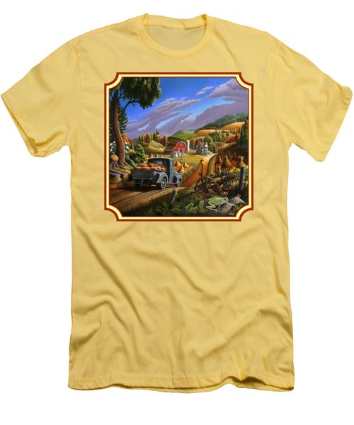 Pumpkins Farm Folk Art Fall Landscape - Square Format Men's T-Shirt (Athletic Fit)