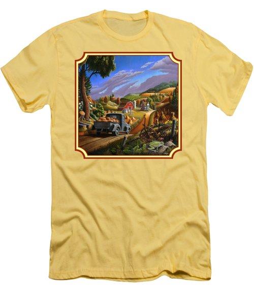 Pumpkins Farm Folk Art Fall Landscape - Square Format Men's T-Shirt (Slim Fit)