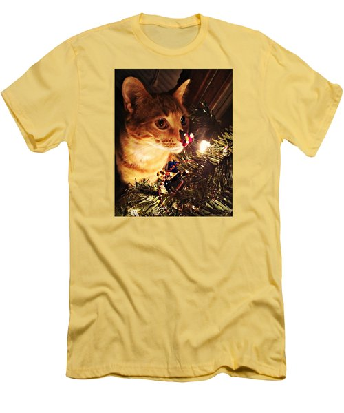 Pumpkin's First Christmas Tree Men's T-Shirt (Slim Fit) by Kathy M Krause