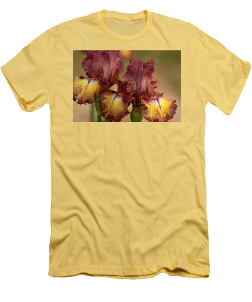 Men's T-Shirt (Slim Fit) featuring the photograph Purple And Yellow Bearded Iris by Sheila Brown