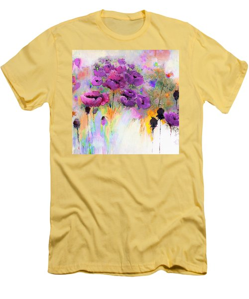 Purple Poppy Passion Painting Men's T-Shirt (Athletic Fit)