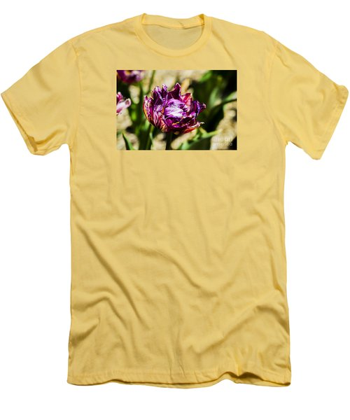 Men's T-Shirt (Athletic Fit) featuring the photograph Purple Striped Tulip by Angela DeFrias