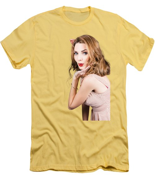 Quirky Portrait Of A Posing 50s Girl In Pinup Style Men's T-Shirt (Slim Fit)