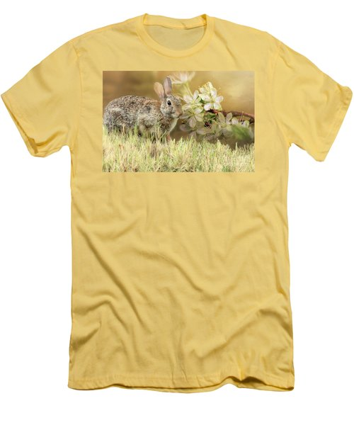 Eastern Cottontail Rabbit In Grass Men's T-Shirt (Athletic Fit)