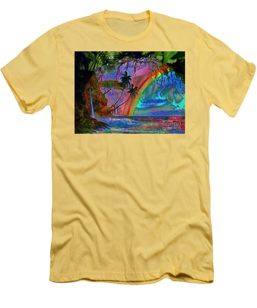 Rainboow Drenched In Layers Men's T-Shirt (Slim Fit) by Catherine Lott