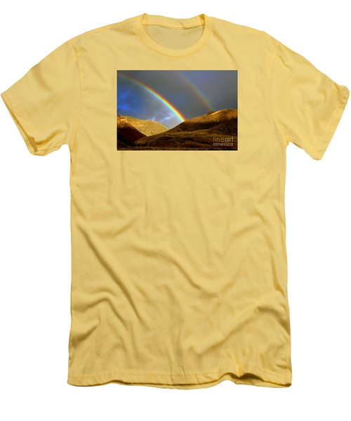 Rainbow In Mountains Men's T-Shirt (Slim Fit) by Irina Hays