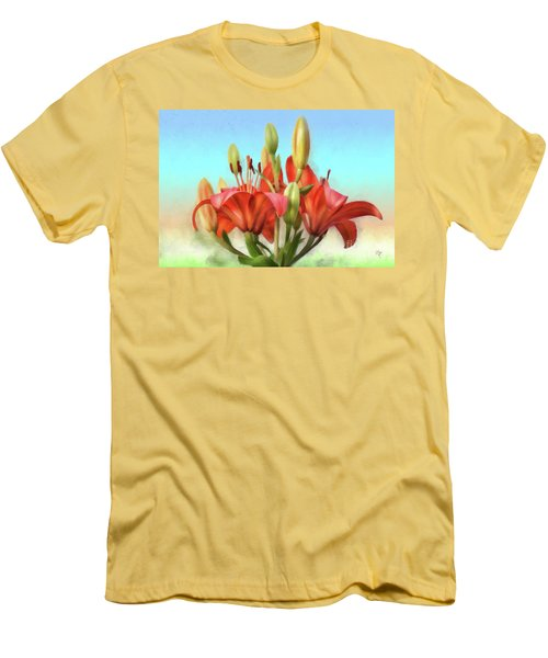 Men's T-Shirt (Slim Fit) featuring the photograph Rainbow Lilies by Lois Bryan