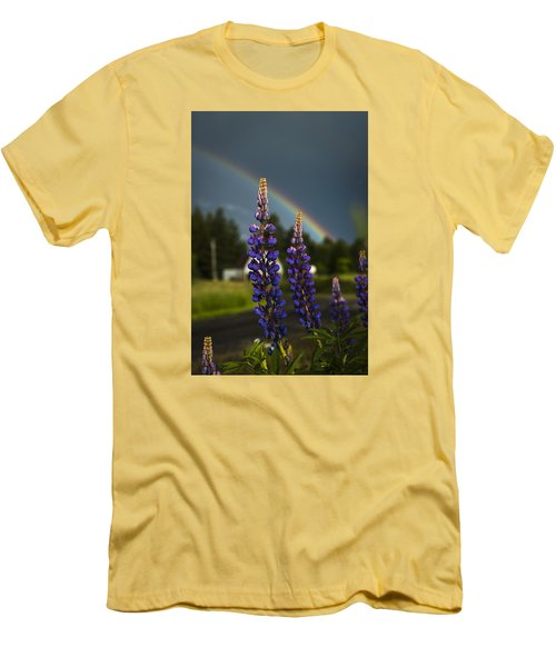 Rainbow Over Lupine  Men's T-Shirt (Athletic Fit)