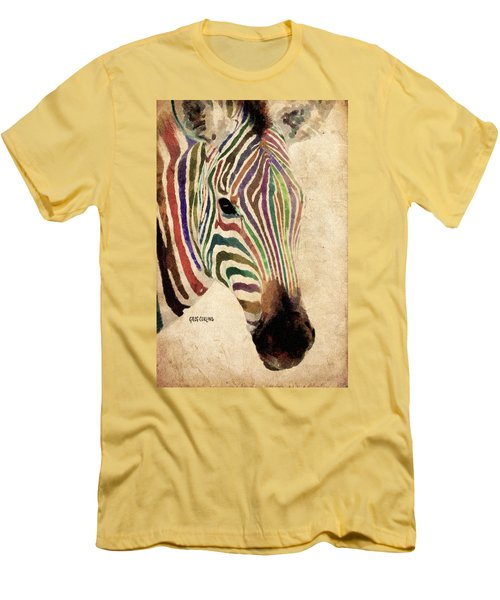 Men's T-Shirt (Slim Fit) featuring the painting Rainbow Zebra by Greg Collins