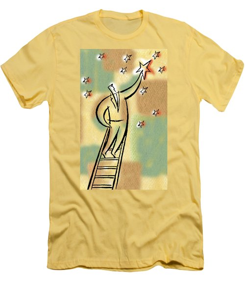 Men's T-Shirt (Slim Fit) featuring the painting Reaching For The Star by Leon Zernitsky