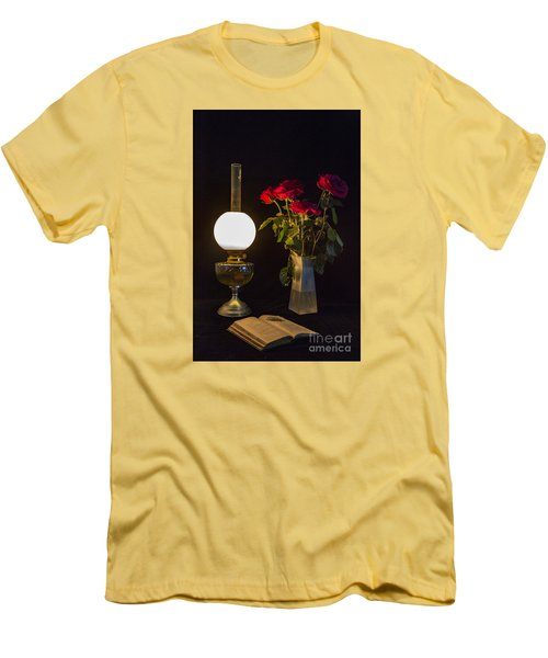 Reading By Oil Lamp Men's T-Shirt (Slim Fit) by Brian Roscorla