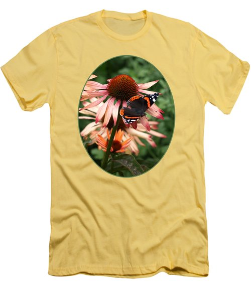 Red Admiral On Coneflower Men's T-Shirt (Athletic Fit)