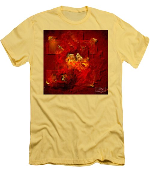 Red And Gold Men's T-Shirt (Slim Fit) by Alexa Szlavics