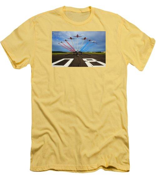 Red Arrows Tribute To Vulcan Xh558 Men's T-Shirt (Slim Fit) by Ken Brannen
