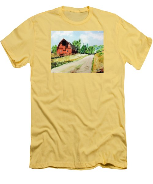 Red Barn Near Steamboat Springs Men's T-Shirt (Athletic Fit)
