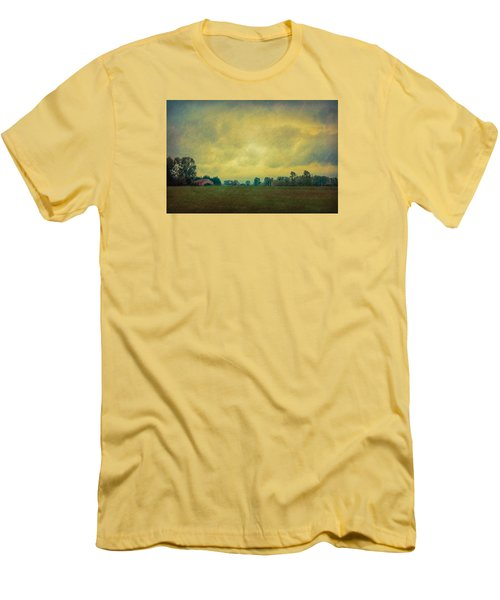 Red Barn Under Stormy Skies Men's T-Shirt (Slim Fit) by Don Schwartz