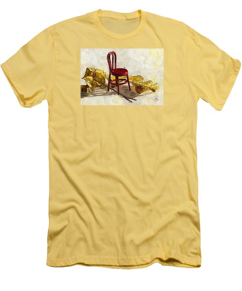Red Chair And Yellow Leaves Men's T-Shirt (Slim Fit) by Debra Baldwin