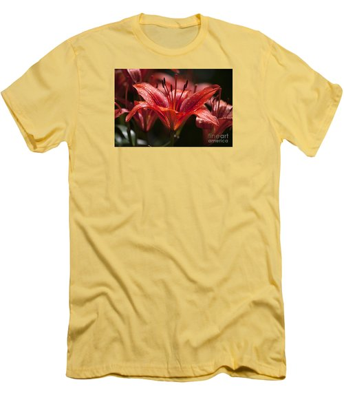 Men's T-Shirt (Slim Fit) featuring the photograph Red Day Lily 20120615_52a by Tina Hopkins