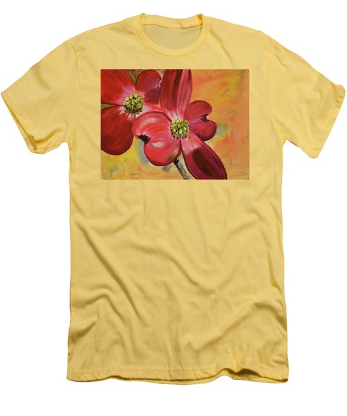 Men's T-Shirt (Athletic Fit) featuring the painting Red Dogwood - Canvas Wine Art by Jan Dappen