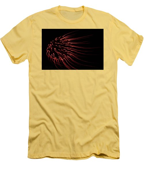 Men's T-Shirt (Slim Fit) featuring the photograph Red Firework  by Chris Berry